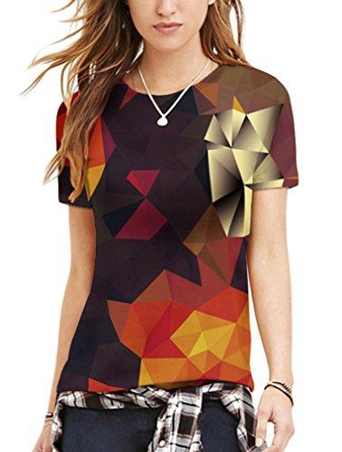 Pretty321 Women Girl Figures & Creative Hip Hop 3D Print Slim T-shirt Collection Creative Boxes