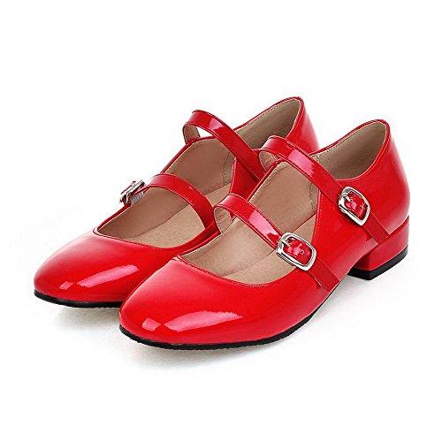 AllhqFashion Damen Pu Leder Rein Schnalle Quadratisch Zehe Niedriger Absatz Pumps Schuhe Rot