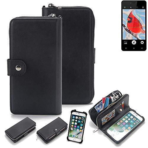 K-S-Trade 2in1 Handyhülle für Allview V2 Viper i4G Schutzhülle & Portemonnee Schutzhülle Tasche Handytasche Case Etui Geldbörse Wallet Bookstyle Hülle schwarz (1x)