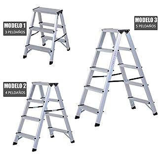 Escalera de Tijera Aluminio Plegable Escalera Doméstica de Mano Ambos Lados 3/4/5 Peldaños Carga 150kg