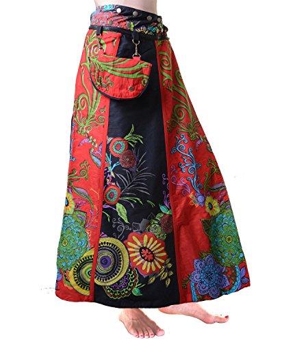 Effetto luminoso Pareo/double-face Rock fiori motivi con bottoni e borsa rosso/nero Einheitsgröße