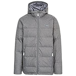 Trespass Sadler, Dark Grey Marl, L, Warm Down Jacket with Hood, 80% Down for Men, Large, Grey