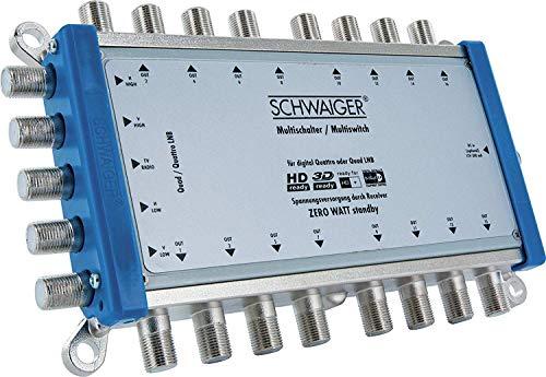 SCHWAIGER -5224- Multischalter 5 -> 16 / Verteilt 1 SAT-Signal auf 16 Teilnehmer/SAT-Verteiler/SAT-Splitter mit externem Netzteil/digital Multiswitch/in Kombination mit einem Quattro LNB