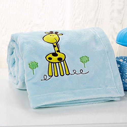 YAOHAOHAO Blaue Giraffe Pattern Babydecke Decke Polyester Material Winter Kindergarten Konzipiert für Baby (100*150cm)