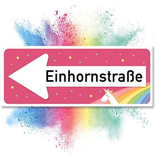 Einhhorn Schild - Einhornstraße (40 x 15cm), Süße Deko - Wanddeko, Türschild für Mädels, Mädchen-Zimmer, Geschenkidee und Geburtstagsgeschenk - Kleines, Lustiges Geschenk für Sie - beste Freundin