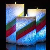 Homemory batteriebetriebene flammenlose Kerze mit Timer, 3er Set Tropfen LED Votivkerze, elektrische Kerze mit flackernder Flamme für Geschenk, Spa, Badezimmer, Tisch,(Rainbow) - 2