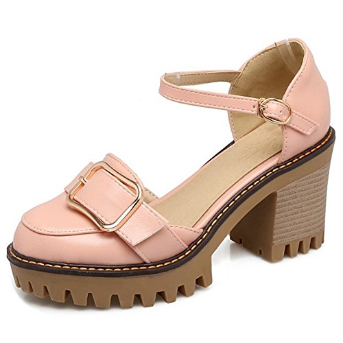 COOLCEPT Damen Mode Knochelriemchen Sandalen Geschlossene Blockabsatz Plateau Schuhe Rosa