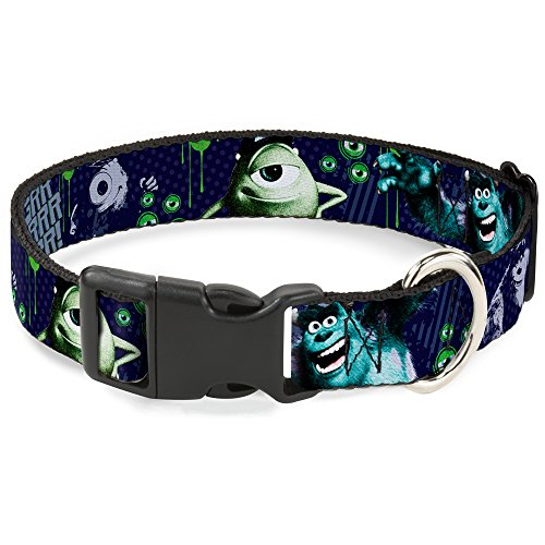 buckle-down-monsters-inc-sully-mike-poses-grrrrr-plastic-clip-collar-small-9-15