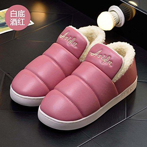 DogHaccd pantofole,Inverno pantofole di cotone morbido pacchetto spessa con un soggiorno interni in pelle impermeabile e antiscivolo per uomini e donne paio di scarpe di cotone Il vino è di colore rosso su bianco.2