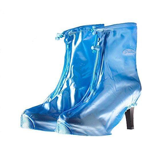 Nasalmate 1Paar Regenüberschuhe Wasserdicht Schuhe Abdeckung Stiefel High Heels Pumps Regen Überschuhe Regenkombi Schuhüberzieher Rutschfestem für Damen Mädchen