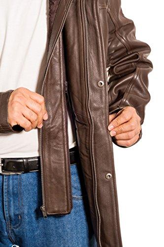 Hommes Cuir long ŽlŽgant manteau d'hiver dŽcontractŽ avec double collier Marron
