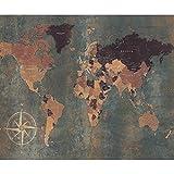 decomonkey Fototapete selbstklebend Weltkarte Landkarte Kontinent 196x140 cm Selbstklebende Tapeten Wand Fototapeten Tapete Wandtapete klebend Klebefolie Wand Dekoration World Map Alt grün