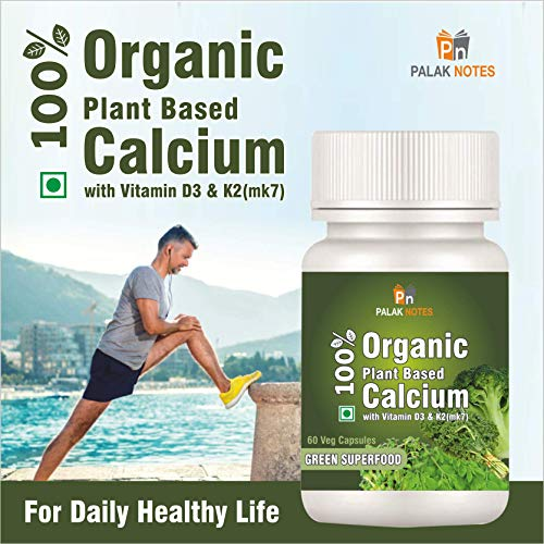 Palak Notes 100% Plant Based Calcium from Kale, Moringa & other Superfoods (Calcium+D3+K2): 60 Capsules