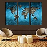#5: FOA World Map Painting    Multiple Frames Wall Painting 3 Panels Painting Vintage World Map in Beige Home Décor   Office Decor   Unique Design   Sunboard Wall Art   Attractive Painting By FRIENDS OFFICE AUTOMATION (World Map, 48 Inch x 32 Inch) (World Map, 36 Inch x 54 Inch)