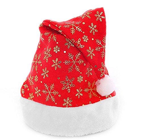 Lumanuby 1 Stück Santa Hat Klassisch Rot Farbe mit Schneeflocken Muster Christmas hat Kopfumfang: ca. 56cm.Rot2 Farbe