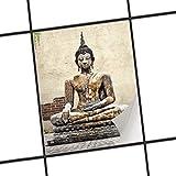 creatisto Fliesen-Muster | Dekorations-Fliesensticker Küchenfliesen Bad-Folie Küchengestaltung | 15x20 cm Design Motiv Relaxing Buddha - 1 Stück