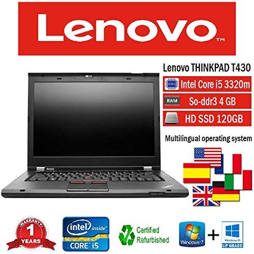 NOTEBOOK LENOVO T430 INTEL i5 3320M/4GB/128GB SSD/DVD/WIN 10 PRO (Ricondizionato)