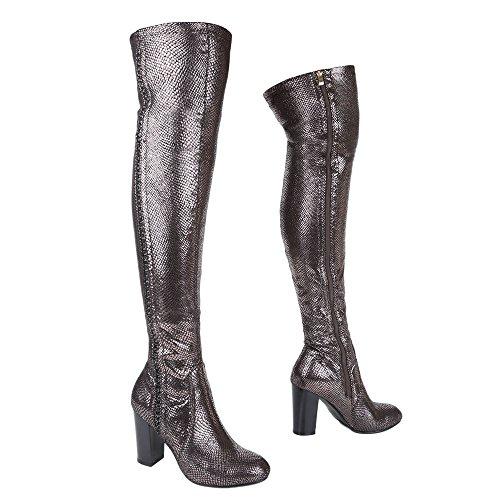 Ital-Design - Stivali classici Donna grigio argento