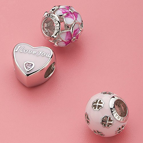 ATHENAIE 925 Sterling Silber Romantische Rosa Emaille CZ Ich Liebe Dich jeden Tag Charm Beads
