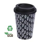 WELTRXE Coffee-to-Go Becher aus Maismehl 350 ml Kaffee-Becher ökologisch abbaubar, wiederverwendbar, lebensmittelecht, natürliche Bio- Reisebecher