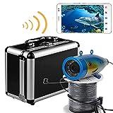 HD WiFi Senza Fili Pesca Subacquea Telecamera registratore Video per iOS Android App Supporta Video Record e scattare Foto con 12 pz luci Bianche,30M