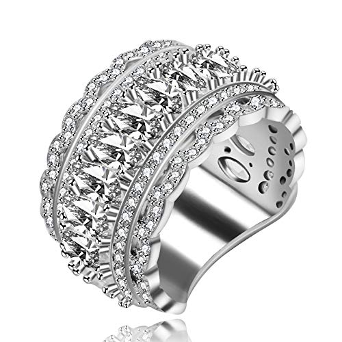 Uloveido Marquise Cut Eternity Band Ringe für Damen - Platin plattiert Zirkonia Filigran Band Ring für Mädchen, Ehering Ersatz, Schöne Brautringe Damen (Größe 57 (18.1) NR309