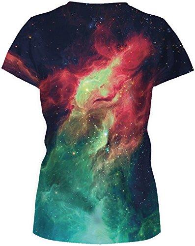 TDOLAH Damen T-Shirt 3D Print Shirt Tee Paar Kostüm Fasching Weltraum Thema Wolf Löwe Katze Tierdruck Rot & Grün Feuer
