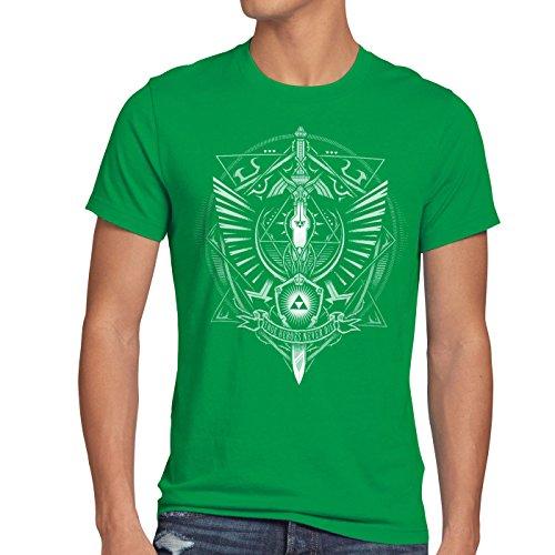 style3 Hyrule Wappen Herren T-Shirt link gamer, Größe:XL;Farbe:Grün