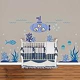 Walplus Wandsticker Wand Aufkleber Sticker Papierkunst Dekoration Meer Super Ozeanwelt Fisch Kinderzimmer Kinder U-Boot Sticker