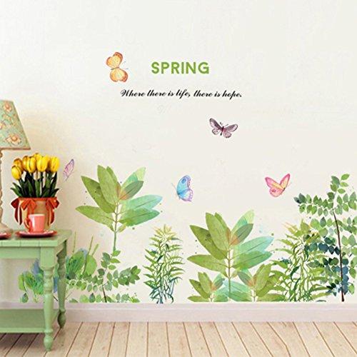 WandSticker4U- Wandtattoo Aquarell FRÜHLINGSGARTEN | Wandbild: 130x88cm | Wandaufkleber Fensteraufkleber Blumenwiese Gräser Pflanzen Blumen Blüten | Deko für Wohnzimmer Kinderzimmer Küche Flur Fenster