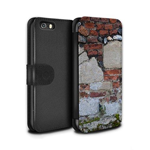 Stuff4 Coque/Etui/Housse Cuir PU Case/Cover pour Apple iPhone SE / Vert Mousse Design / Maçonnerie Collection Mixte