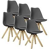[en.casa] Esstisch Bambus weiß mit 6 Stühlen grau gepolstert 180x80cm Esszimmer Essgruppe Küche - 5