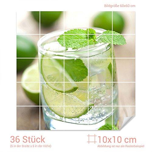 GRAZDesign Fliesenaufkleber Limette-Minze-Wasser für Kacheln Wand-Deko für Bad Küchen-Fliesen (Fliesenmaß 10x10cm (BxH) / Bild 60x60cm (BxH))