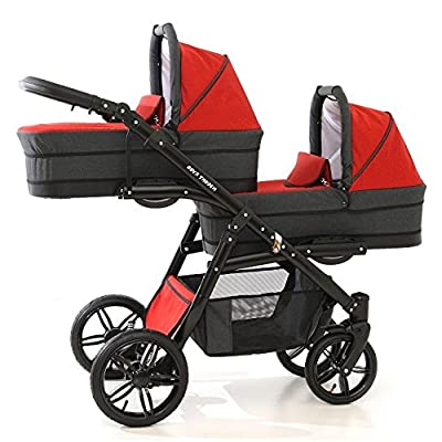Coche gemelar completo. Sillas + capazos + sillas de coche grupo 0 + ISOFIX + sacos polares + sombrillas + accesorios. Rojo. Onyx Tandem
