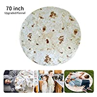 Hamkaw Burrito Blanket, [Upgraded Flannel] Burrito Wrap Throw Blanket - Mexico Extra Large Pizza Novelty Human Tortilla Blanket Round Shape for Adult & Kids (6 Ft)