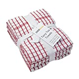Sensio Home Vintage Kitchen Tea Towels - Thick 100% Cotton, 5 PACK, Large 45 x 65cm - Heavy Duty, Super Absorbent, Professional Grade Classic Terry Dish Cloths - Red
