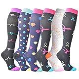 3/6 pares calcetines de compresión para mujeres y hombres (15 – 25 mmHg) – ideal para médicos, circulación, recuperación, lactancia, viajes y vuelo calcetines – Running & Fitness