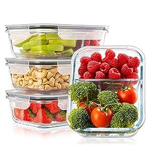 4-er Set Frischhaltedosen Glas Aufbewahrungsbox Auslaufsicher Lunchbox, 2 Luftdichte Fächer, Größe XL 1040 mL - Brotzeitdose Bento Box aus Glas BPA-frei - Meal-Prep-Box, Vorratsbehälter, Gefrierdosen
