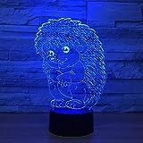 WJPDELP-YEDE 3D LED Igel Baby Modellierung Touch Button Nightlight 7 Farben USB Cartoon Tischlampe Baby Nachttischleuchten Wohnkultur Decor