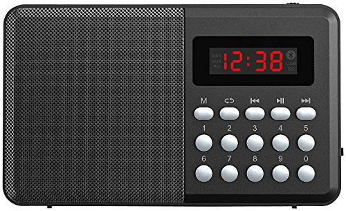 auvisio Badradio: FM-Taschenradio, Bluetooth, MP3-Player, Display, USB, microSD & Akku (Kleines Radio)