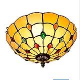 GJX Tiffany Style Deckenleuchte, 12-Zoll-Glasmalerei Bead Design Deckenleuchte, mediterrane kreative Aisle Corridor Balkon Foyer Schlafzimmer dekorieren Deckenleuchte E27 ohne Lichtquelle