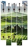 Artland Qualitätsmöbel I Garderobe mit Motiv 5 Holz-Paneele mit Haken 68 x 114 cm Landschaften Felder Foto Grün F1YZ Sonnenaufgang über Einer Olivenfarm