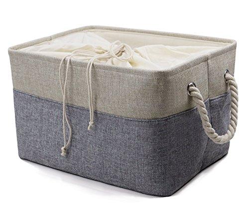 Natürliche Leinen Falten Lagerung Körbe mit Baumwolle Verschluss für Spielzeug, Kleidung Organizer, Buch Lagerung, Speicher Würfel für Regal, grau