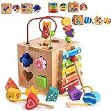Abester Motorikwürfel Motorikspielzeug 5-in-1 Lernspielzeug zur Förderung von Formerkennung und Konzentration Xylophon Holzspielzeug Frühe Bildung Spielzeug Für Kinder und Babys-Geschenkideen