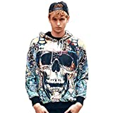SZIVYSHI Herren Slim Fit Reißverschluss Halloween Hoodie Long Sleeve Kapuzenpullover 3D Druck Muster Sweatshirt Pullove