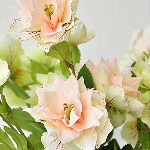 lqnMay DREI köpfige Künstliche Blumen Clematis Bud Gefälschte Hirtenpflanzen Hochzeitszimmer Home Hotel Party Dekoration Pack von 2 A