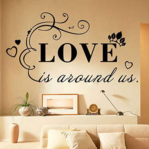 ljradj Wandaufkleber Stilvolle Englisch Brief Muster Hintergrund Tapete Home Schlafzimmer Aufkleber Wohnzimmer Vinyl Wandbilder Zitate rosa 79X42 cm
