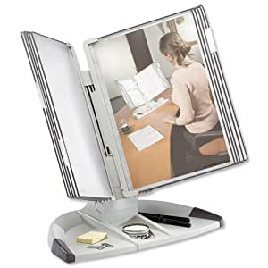 Tarifold Office Desk Display Stand with 5 Clip-on Index Tabs and 10 Pockets A4 Grey Ref 734300