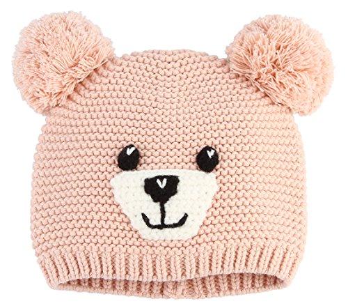 GEMVIE Chapeau Tricot Enfant Bébé Bonnet Unisexe Cartoon Mignon Chaud Automne Hiver Ours Beanie Crochet (Size 3, Rose)