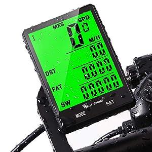 Computadora de ciclo, velocímetro del odómetro de la bici para montar a caballo de la montaña Computadoras de la bicicleta a prueba de agua Distancia de seguimiento-despertador automático Tiempo de la velocidad de Avs, accesorios que completan un ciclo (sin hilos / atado con alambre)